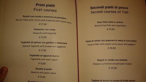 Menu at Osteria San Marco