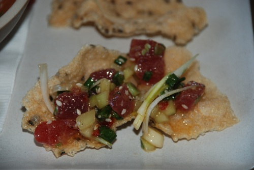 Spicy yellowfin tuna tartare with english cucumber, scallion and toasted sesame, served on a rice and seaweed crisp - crunchy, spicy bites of wonderful (photo: Marina Cohn)