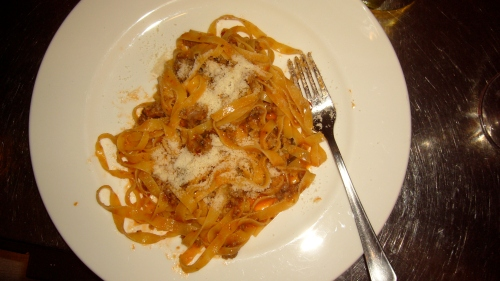 Pasta is only served in portions for 2 people; On our vist the Daily Pasta was a tagliatelle in a cheesy sweet sausage ragu