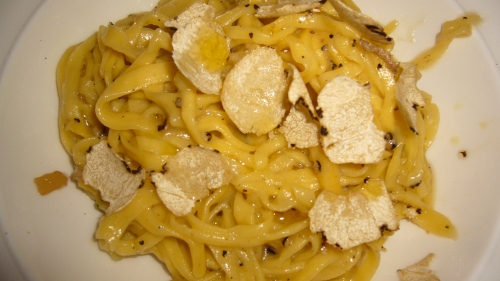 Tagliatelle with fresh black truffle, fresh ingredients perfectly cooked with that wonderful truffle flavor