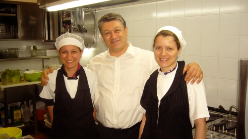 In Agostina's kitchen, with husband and partner Romano and sous chef