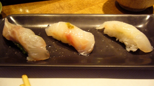L-R: Tai - japanese snapper with sea salt and mint; Loup de Mer w/ yuzu-kosho and sea salt; Dorado - French Snapper w/ sea salt