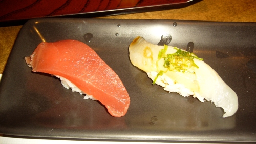 L-R: Blue Fine Tuna with soy sauce and wasabi; Hirame with ponzu and green onion