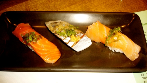 L-R: Tasmanian Sea Trout with ponzu and scallion; Aji - spanish mackerel with fresh ginger and scallion; White Salmon with scallion; the best trio of the meal, 3 smokey, creamy delicious pieces of fish