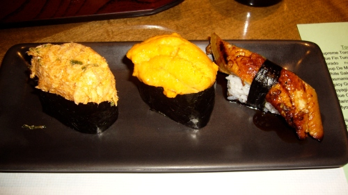L-R: Spicy grilled yellow tail with scallion; Uni - Santa Barbara Sea Urchin; Unagi - fresh water eel with eel sauce; finishing the meal with a tour of flavors, from rich to briney sea to a savory, sweet, grilled dessert