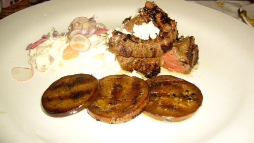 Beef Tenderloin and Smoked Eggplant with Goat Cheese, Shallots, Chive Flower and Radish is Chef Ludo at his finest.  The beef, a perfect medium rare, explodes with char-grilled flavors, only enhanced by the smokeyness of the eggplant.  The goat cheese and carmelized shallots combine to taste like a fully loaded backed potato without the potato.  This is definately one of LA's best beef dishes.